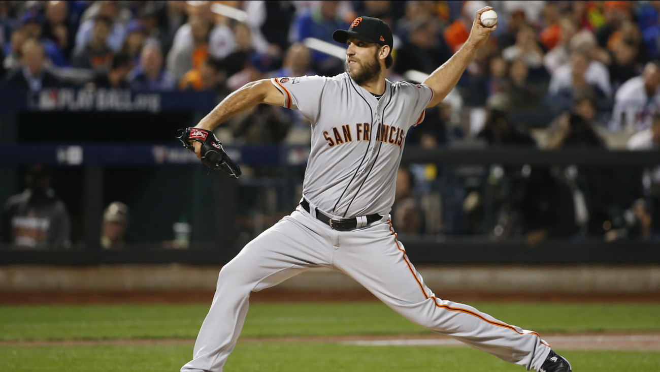 San Francisco Giants starting pitcher Madison Bumgarner (40) delivers against the New York Mets during the National League wild-card baseball game, Oct. 5, 2016 in New York.