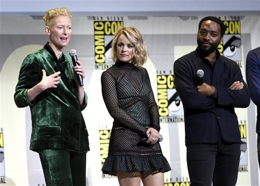 <div class='meta'><div class='origin-logo' data-origin='AP'></div><span class='caption-text' data-credit='Photo by Chris Pizzello/Invision/AP'>Tilda Swinton, from left, Rachel McAdams, and Chiwetel Ejiofor attend the &#34;Dr. Strange&#34; panel on day 3 of Comic-Con International on Saturday, July 23, 2016, in San Diego.</span></div>