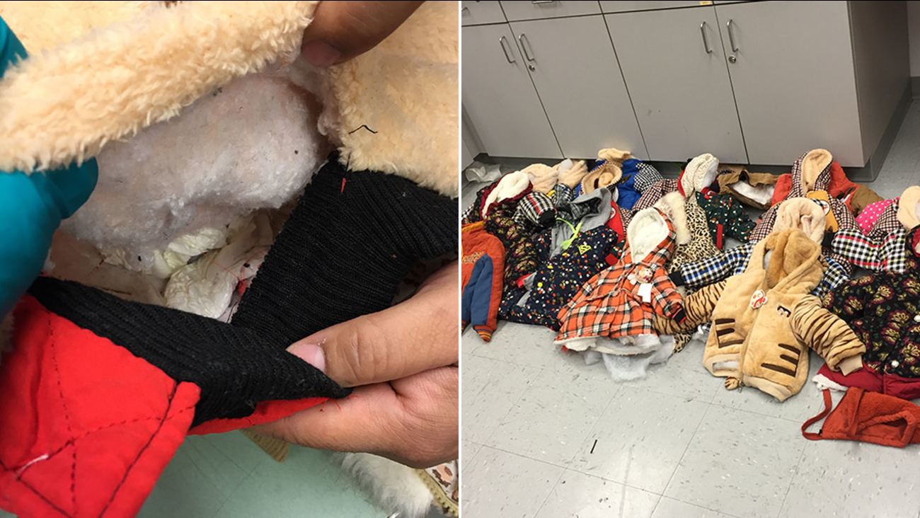 U.S. Customs and Border Protection said 4 pounds of cocaine was found sewn in the linings of children's clothes at Houston's George Bush Intercontinental Airport on Oct. 3, 2016.