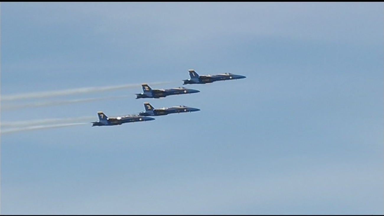 The Blue Angels are seen flying over San Francisco, Calif. in this undated image.