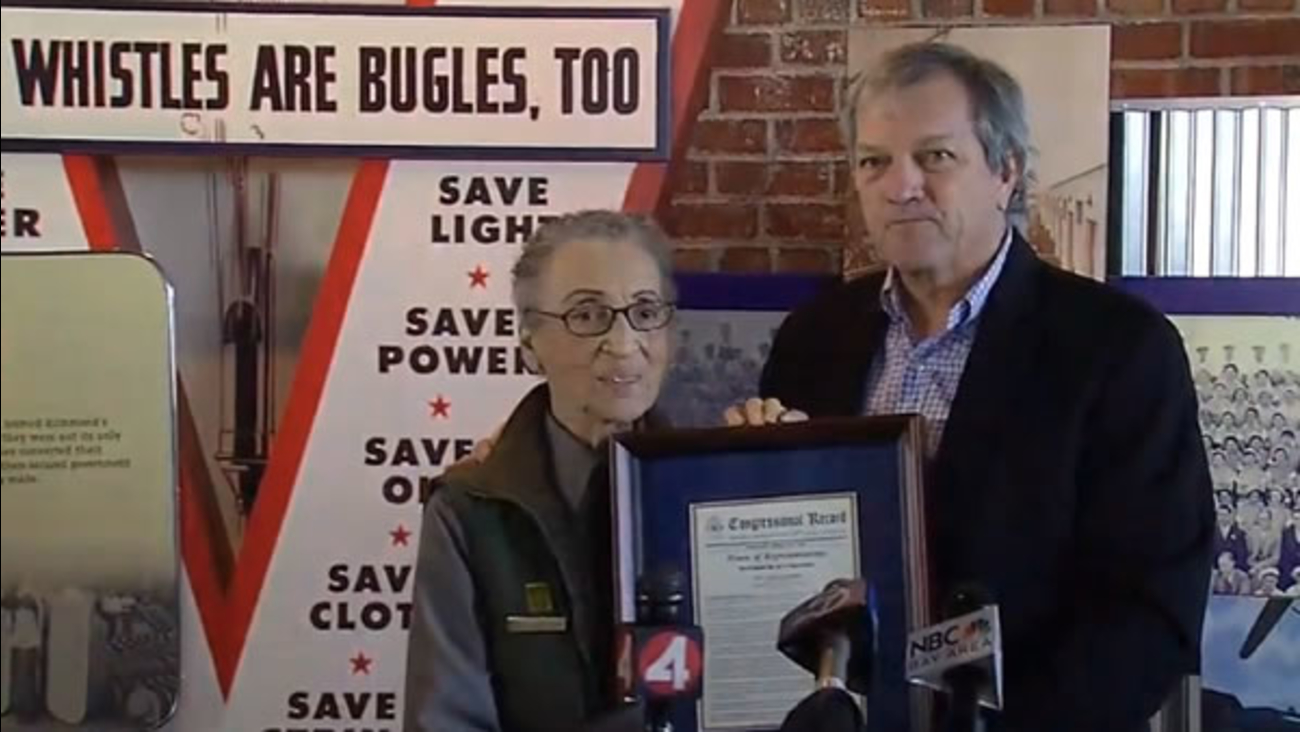 Betty Reid Soskin receives a congressional award from Rep. Mark DeSaulnier in Richmond, Calif. on Friday, Oct. 7, 2016.