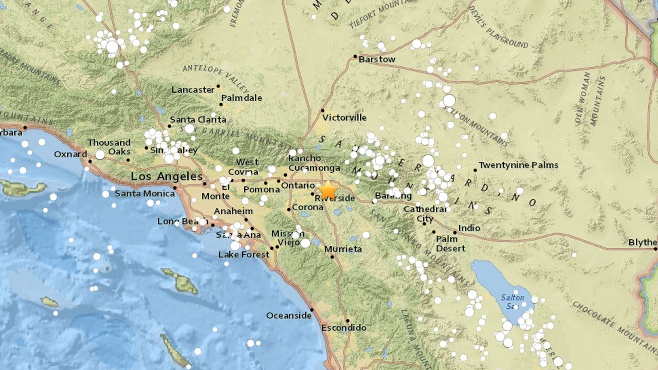 A map shows the epicenter of a 2.8-magnitude earthquake that struck near Loma Linda on Saturday, Oct. 8, 2016.