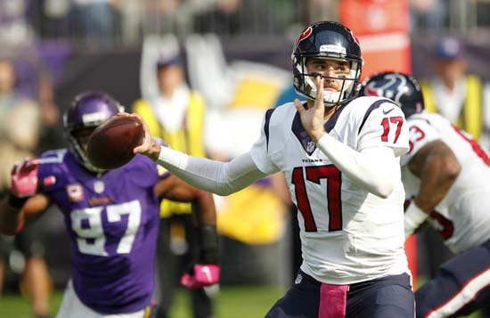 <div class='meta'><div class='origin-logo' data-origin='AP'></div><span class='caption-text' data-credit='Andy Clayton-King'>Houston Texans quarterback Brock Osweiler throws a pass during the first half of an NFL football game against the Minnesota Vikings.</span></div>