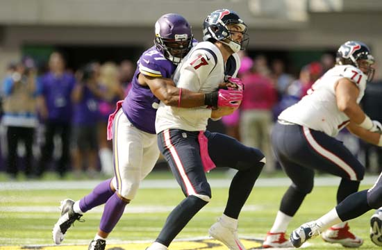<div class='meta'><div class='origin-logo' data-origin='AP'></div><span class='caption-text' data-credit='Jim Mone'>Houston Texans quarterback Brock Osweiler (17) is sacked by Minnesota Vikings defensive end Everson Griffen, left, during the first hal.</span></div>
