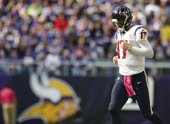 <div class='meta'><div class='origin-logo' data-origin='AP'></div><span class='caption-text' data-credit='Jim Mone'>Houston Texans quarterback Brock Osweiler runs on the field during the second half of an NFL football game against the Minnesota Vikings.</span></div>