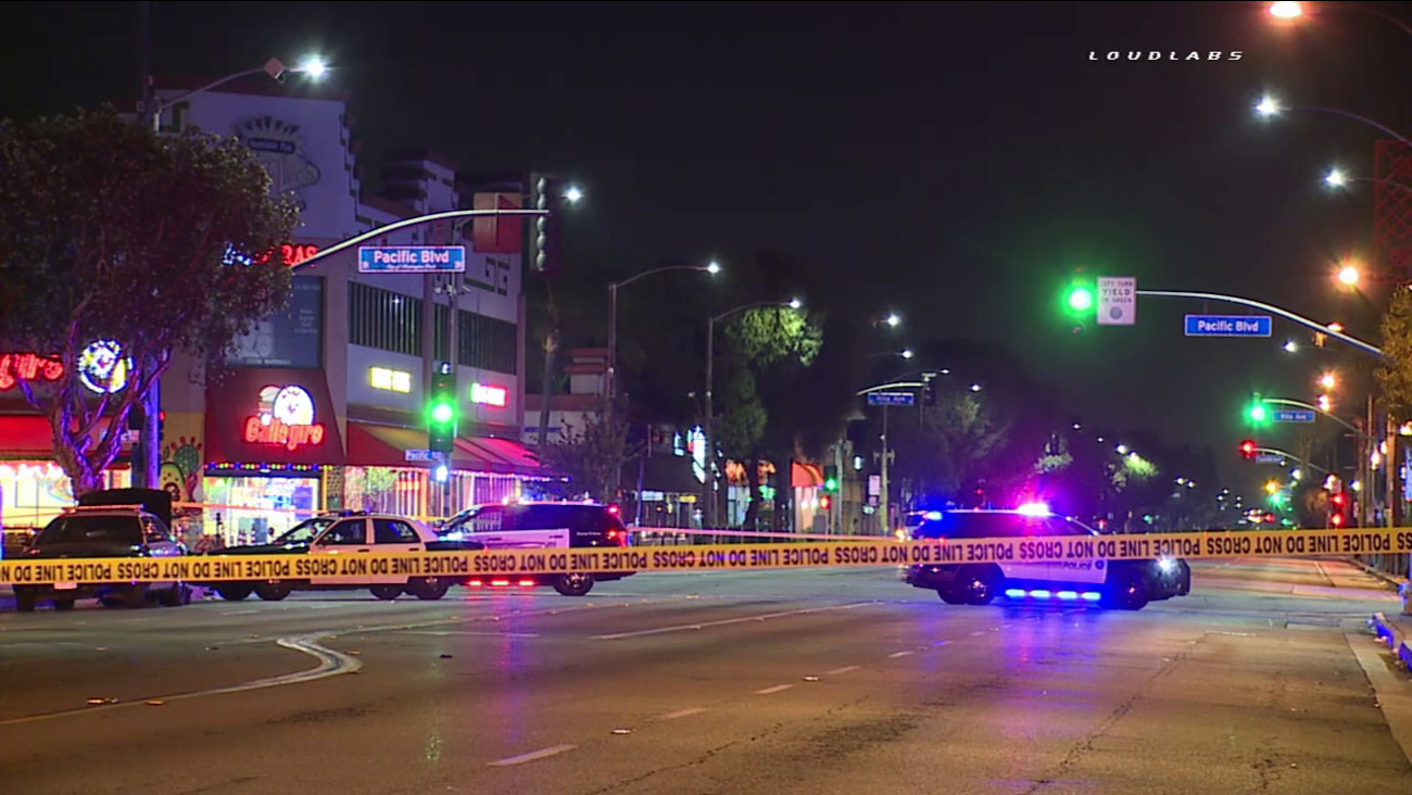 A stretch of Florence Avenue in Huntington Park was closed after a man was shot at a bus stop on Monday, Oct. 10, 2016.