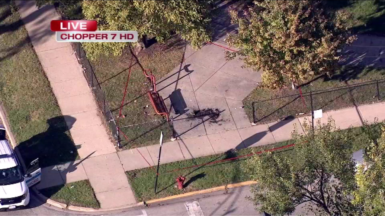 An 11-year old boy suffered burns on his legs after riding his bicycle through some items that were set on fire on Chicago's South Side.
