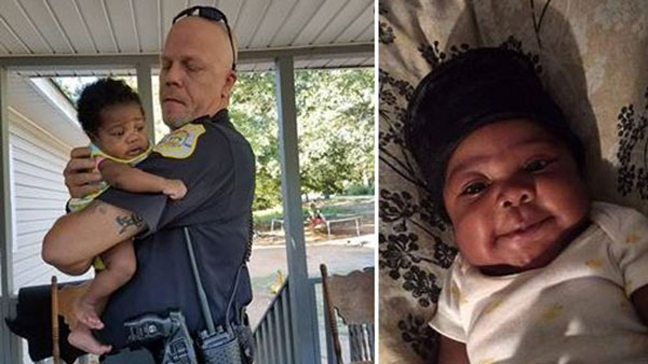 A veteran Georgia police officer is being heralded as a hero after he saved the life of a 2-month-old baby last month.