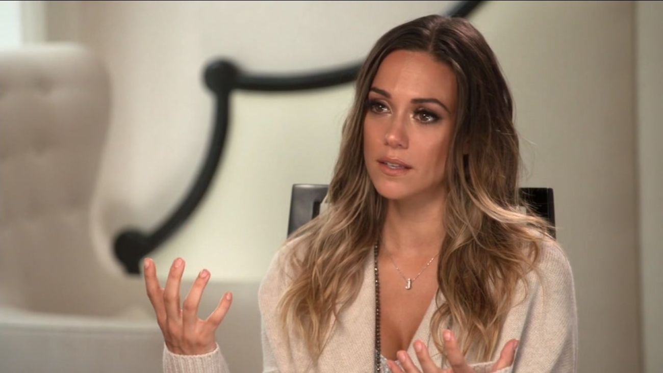 """THis image shows Dancing With the Stars"""" Jana Kramer during an interview on ABC's Nightline in which she talks about her abusive marriage."""