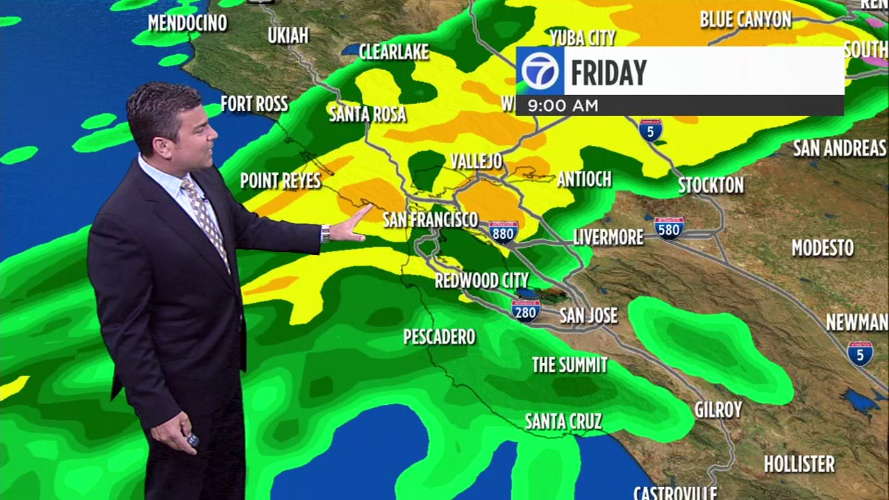 ABC7 News Meteorologist Mike Nicco has an updated look at when the storm will reach the Bay Area on Friday.