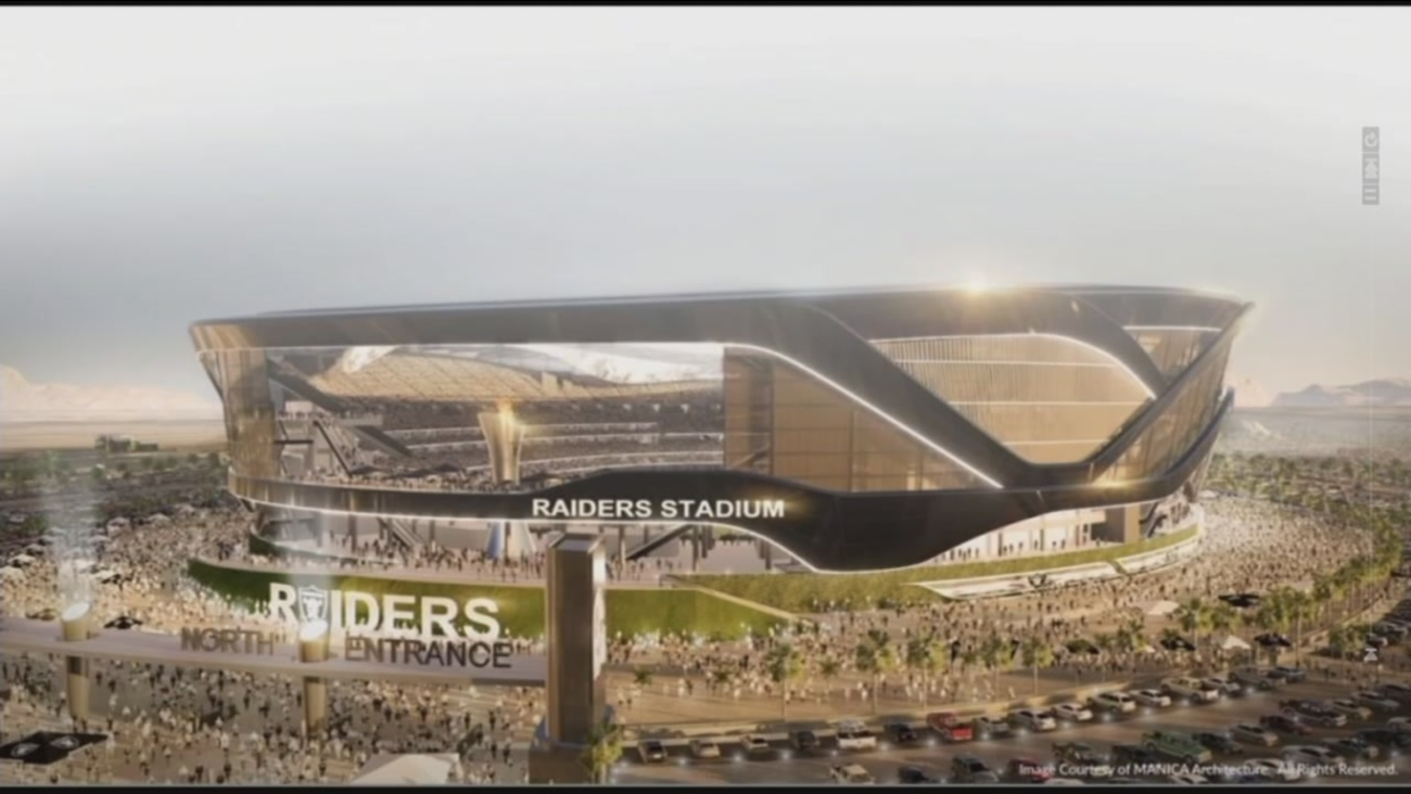 This undated image is a concept sketch of the proposed Raiders stadium in Las Vegas.