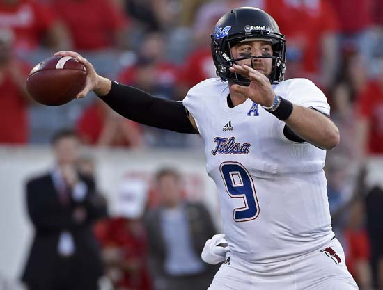<div class='meta'><div class='origin-logo' data-origin='AP'></div><span class='caption-text' data-credit='Eric Christian Smith'>Tulsa quarterback Dane Evans throws a pass in the first half of an NCAA college football game against Houston, Saturday, Oct. 15, 2016, in Houston.</span></div>