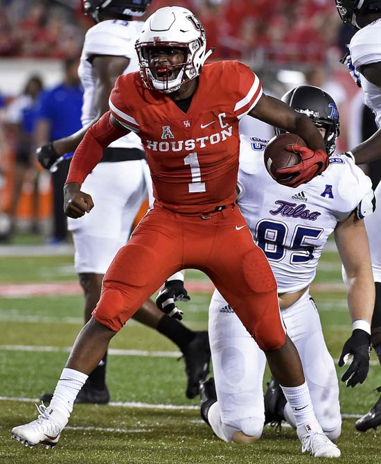 <div class='meta'><div class='origin-logo' data-origin='AP'></div><span class='caption-text' data-credit='Eric Christian Smith'>Houston quarterback Greg Ward Jr. (1) celebrates a first down in the first half of an NCAA college football game against Tulsa, Saturday, Oct. 15, 2016, in Houston.</span></div>