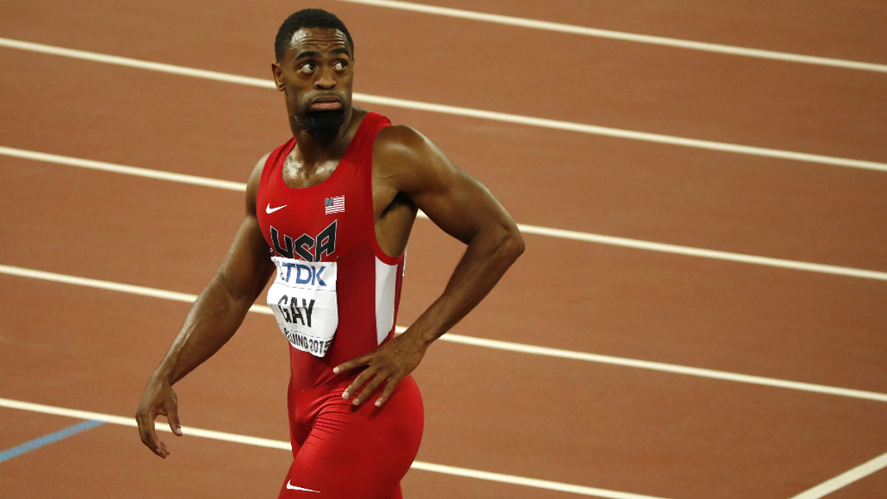 FILE: United States' Tyson Gay leaves the track after the men's 100m final at the World Athletics Championships at the Bird's Nest stadium in Beijing, Sunday, Aug. 23, 2015.