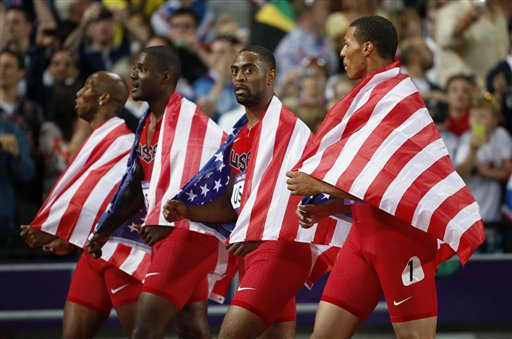 <div class='meta'><div class='origin-logo' data-origin='AP'></div><span class='caption-text' data-credit='AP Photo/Matt Dunham, File'>United States' 4x100-meter relay team Trell Kimmons, Justin Gatlin, Tyson Gay and Ryan Bailey walk on the track taking the silver medal at the 2012 Summer Olympics, London.</span></div>