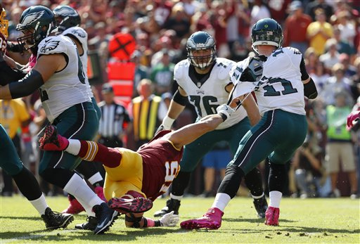 "<div class=""meta image-caption""><div class=""origin-logo origin-image ap""><span>AP</span></div><span class=""caption-text"">Washington Redskins outside linebacker Ryan Kerrigan, left, tears Philadelphia Eagles quarterback Carson Wentz's jersey as Wentz tries to escape. (AP Photo/Alex Brandon)</span></div>"
