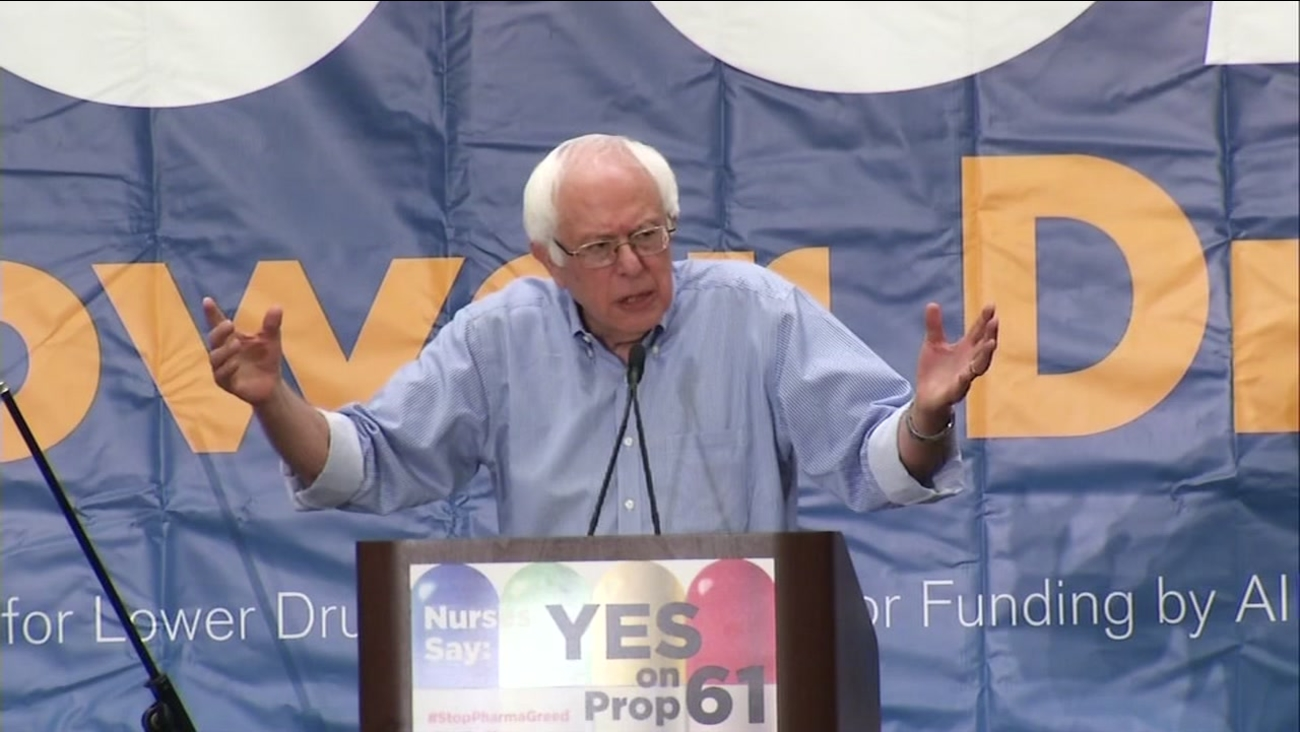 Former U.S. presidential contender Sen. Bernie Sanders hosted a rally in San Francisco Saturday, October 15, 2016, in support of Proposition 61.