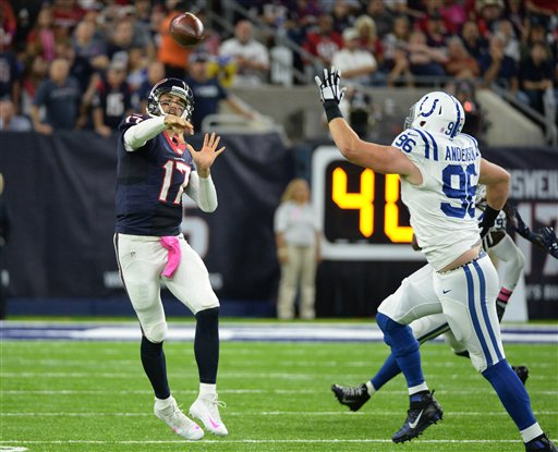 "<div class=""meta image-caption""><div class=""origin-logo origin-image ap""><span>AP</span></div><span class=""caption-text"">Houston Texans quarterback Brock Osweiler (17) throws against the Indianapolis Colts during the first half of an NFL football game Sunday, October, 16, 2016, in Houston. (George Bridges)</span></div>"