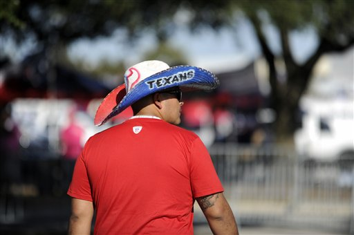 "<div class=""meta image-caption""><div class=""origin-logo origin-image ap""><span>AP</span></div><span class=""caption-text"">A fan arrives at NRG stadium before an NFL football game between the Houston Texans and the Indianapolis Colts, Sunday, October, 16, 2016, in Houston. (Eric Christian Smith)</span></div>"