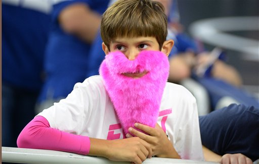 "<div class=""meta image-caption""><div class=""origin-logo origin-image ap""><span>AP</span></div><span class=""caption-text"">A Houston Texans fan wears a pink beard as the NFL salutes Breast Cancer Awareness Month during  game between the Texans and the Colts, Sunday, October, 16, 2016, in Houston. (George Bridges)</span></div>"