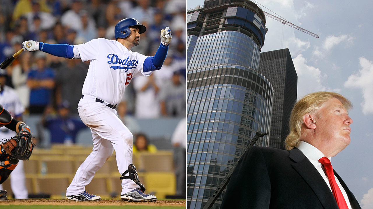 Los Angeles Dodgers' Adrian Gonzalez (left) during a 2016 season game and Donald Trump (right)  in front of the Trump International Hotel & Tower in May 2007.