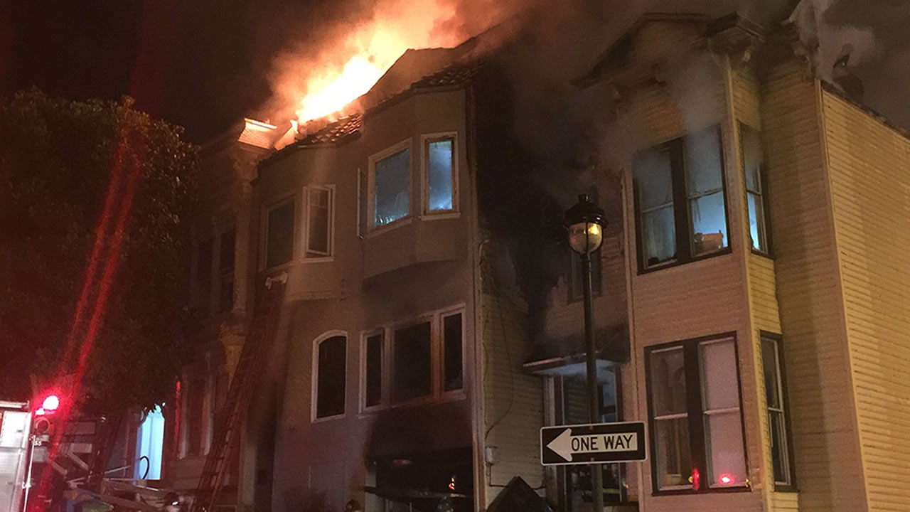 This image shows a two-story-home on fire in San Francisco's Catsro District on Oct. 20, 2016.