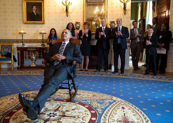 "<div class=""meta image-caption""><div class=""origin-logo origin-image none""><span>none</span></div><span class=""caption-text"">President Obama lounges in a rocking chair, given to him by the UConn women's basketball team after their 2016 NCAA Championship. (Pete Souza, Chief Official White House Photographer)</span></div>"