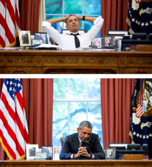 "<div class=""meta image-caption""><div class=""origin-logo origin-image none""><span>none</span></div><span class=""caption-text"">Two images of the president taken at the same angle with the same lens in 2015. The top image shows the president during a meeting, and the bottom during a on his birthday. (Pete Souza, Chief Official White House Photographer)</span></div>"