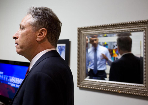 "<div class=""meta image-caption""><div class=""origin-logo origin-image none""><span>none</span></div><span class=""caption-text"">President Obama reflected in a mirror as he speaks with the former host of ""The Daily Show,"" Jon Stewart in 2015. (Pete Souza, Chief Official White House Photographer)</span></div>"