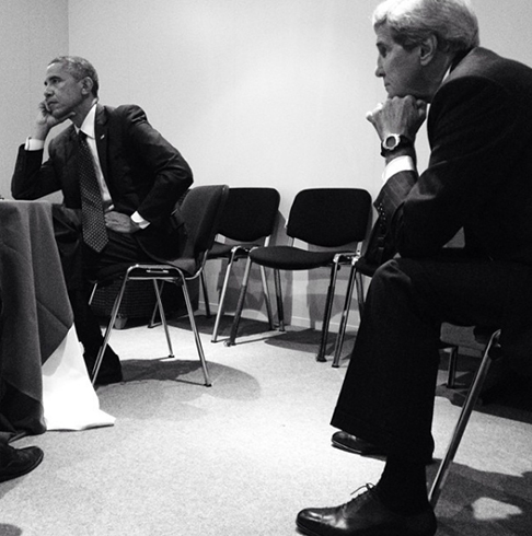 "<div class=""meta image-caption""><div class=""origin-logo origin-image none""><span>none</span></div><span class=""caption-text"">The president looking deep in thought with Secretary of State John Kerry before a NATO Summit in 2014. (Pete Souza, Chief Official White House Photographer)</span></div>"