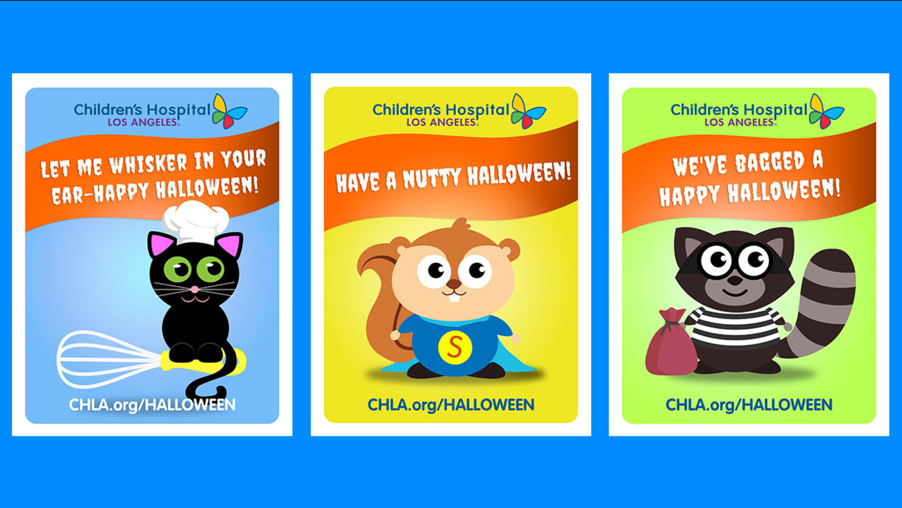 A selection of Halloween cards, or 'Cat-O-Grams', that Children's Hospital Los Angeles will hand deliver to sick children who are spending the holiday at the hospital.