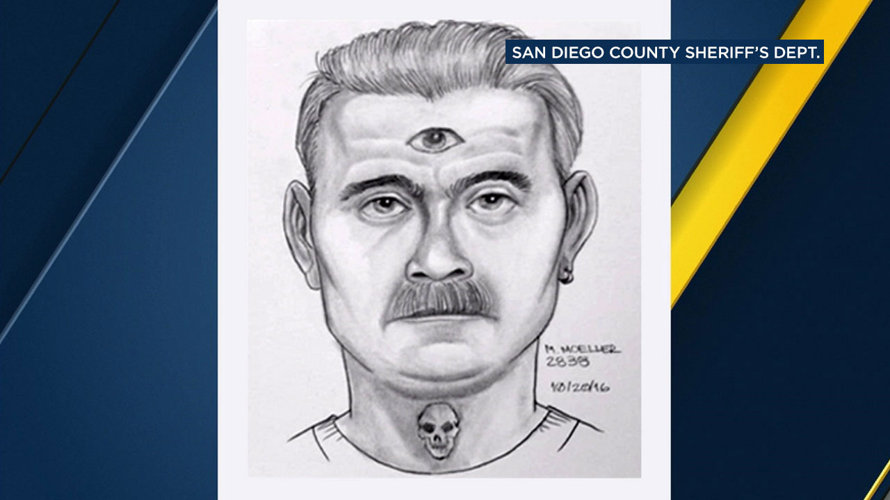 A man suspected of attempted kidnapping is shown in a police sketch that shows he has a third eye tattoo on his forehead and a skull on his neck.