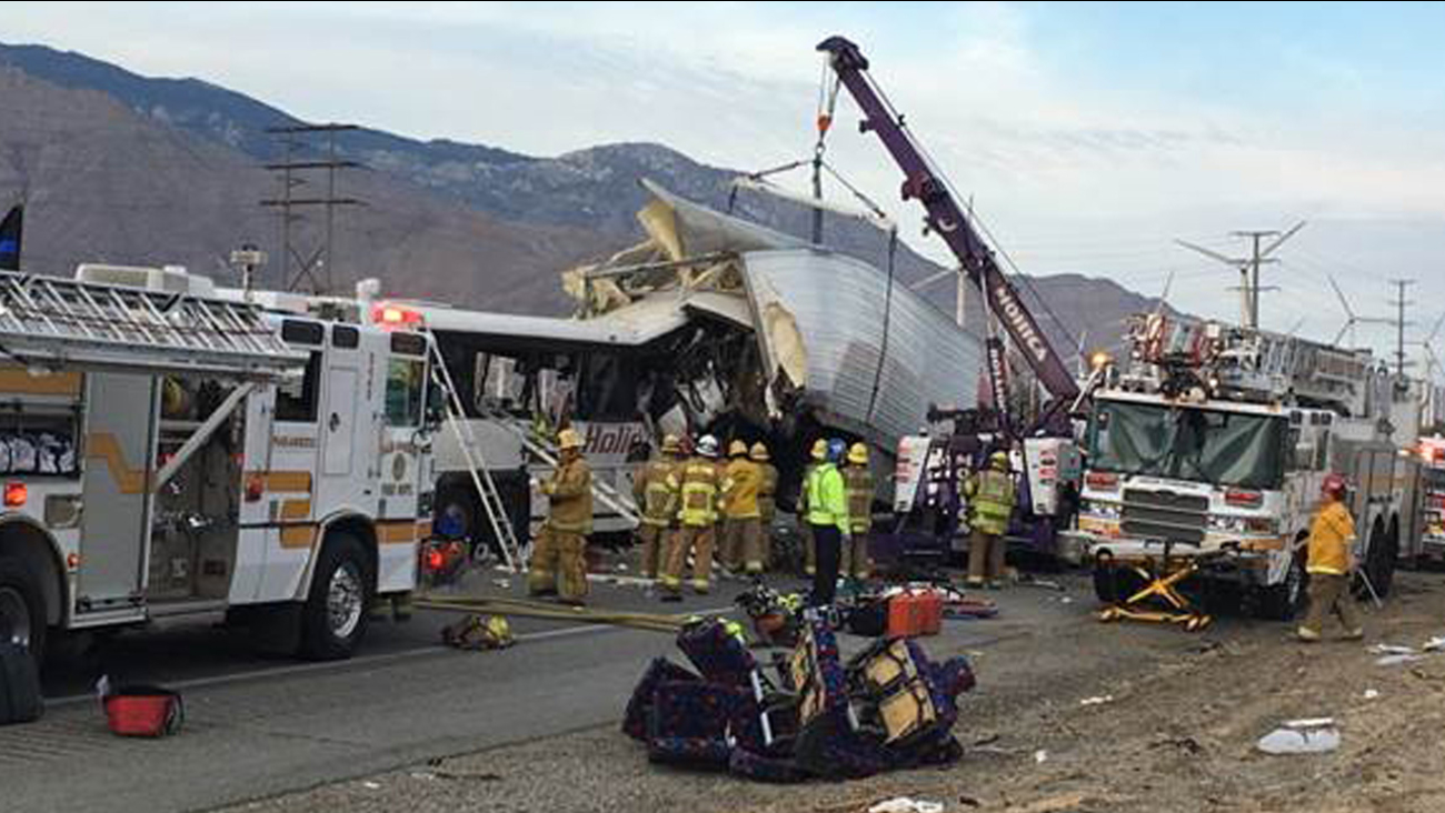 13 dead and 31 injured after tour bus, semi-truck collide in Palm