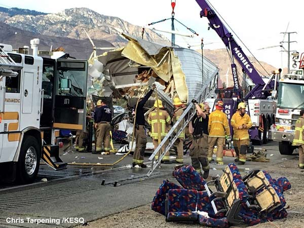 <div class='meta'><div class='origin-logo' data-origin='none'></div><span class='caption-text' data-credit='Chris Tarpening /KESQ'>The California Highway Patrol says passengers were killed when a tour bus and a semi-truck crashed on a highway in Southern California.</span></div>