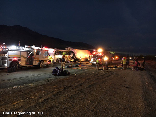 13 dead, 31 injured after tour bus, semi-truck collide in CA | abc11 com