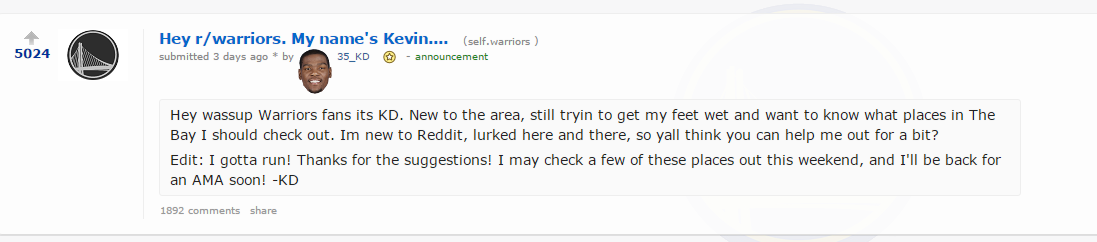 "This image shows the Reddit.com thread where Kevin Durant answered fan questions in an ""Ask  Me Anything"" session on Oct. 24, 2016."