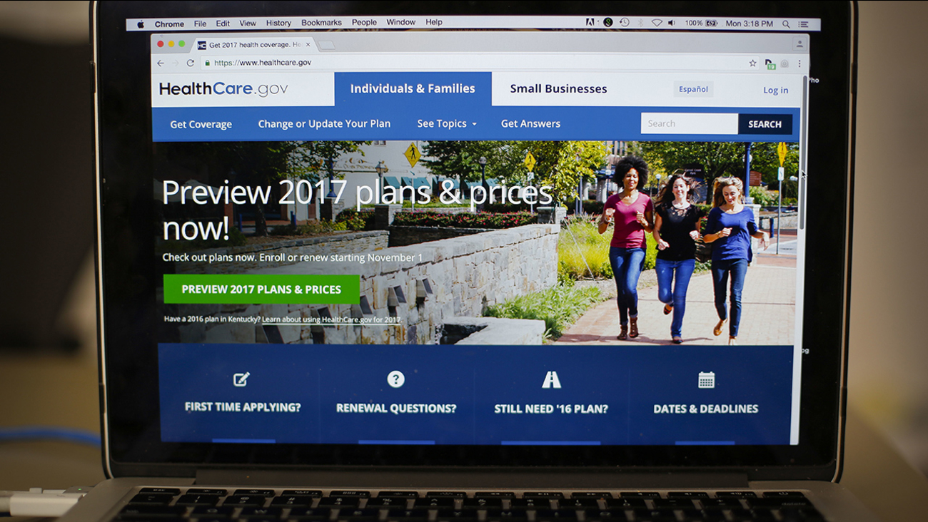 The HealthCare.gov 2017 web site home page as seen in Washington, Monday, Oct. 24, 2016.