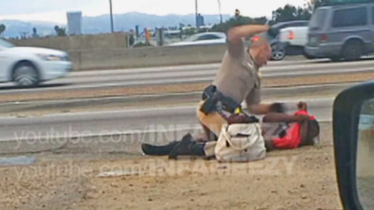 Cellphone video captured a California Highway Patrol officer repeatedly punching a woman on the side of the 10 Freeway on July 1, 2014.