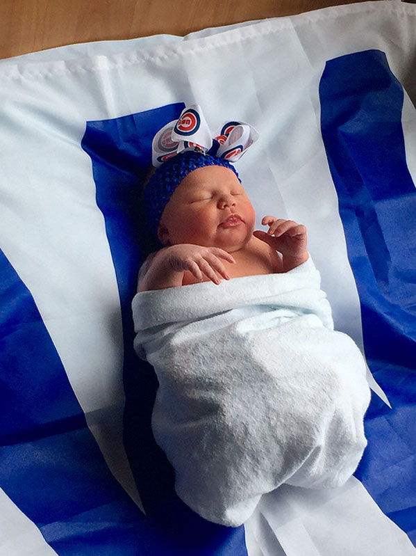 "<div class=""meta image-caption""><div class=""origin-logo origin-image none""><span>none</span></div><span class=""caption-text"">Brooke was born 10/21 and the photo was taken the day the Cubs clinched. (Bella Baby photos)</span></div>"
