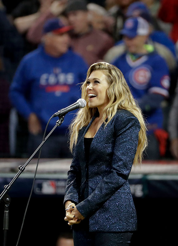 "<div class=""meta image-caption""><div class=""origin-logo origin-image none""><span>none</span></div><span class=""caption-text"">International pop star Rachel Platten sings the national anthem before Game 1 of the Major League Baseball World Series between the Cleveland Indians and the Chicago Cubs. (AP Photo/Matt Slocum)</span></div>"