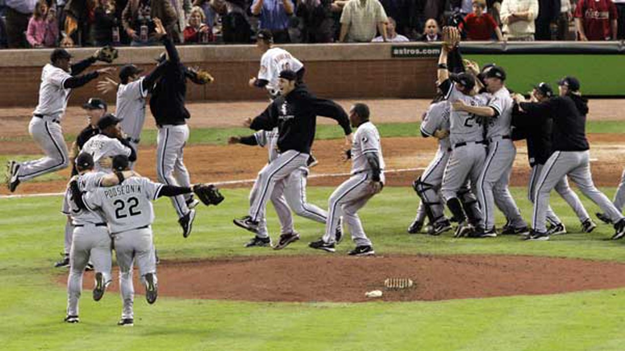 The Chicago White Sox celebrate after sweeping the Houston Astros with a 1-0 win in Game 4 to win the World Series Wednesday, Oct. 26, 2005 in Houston.