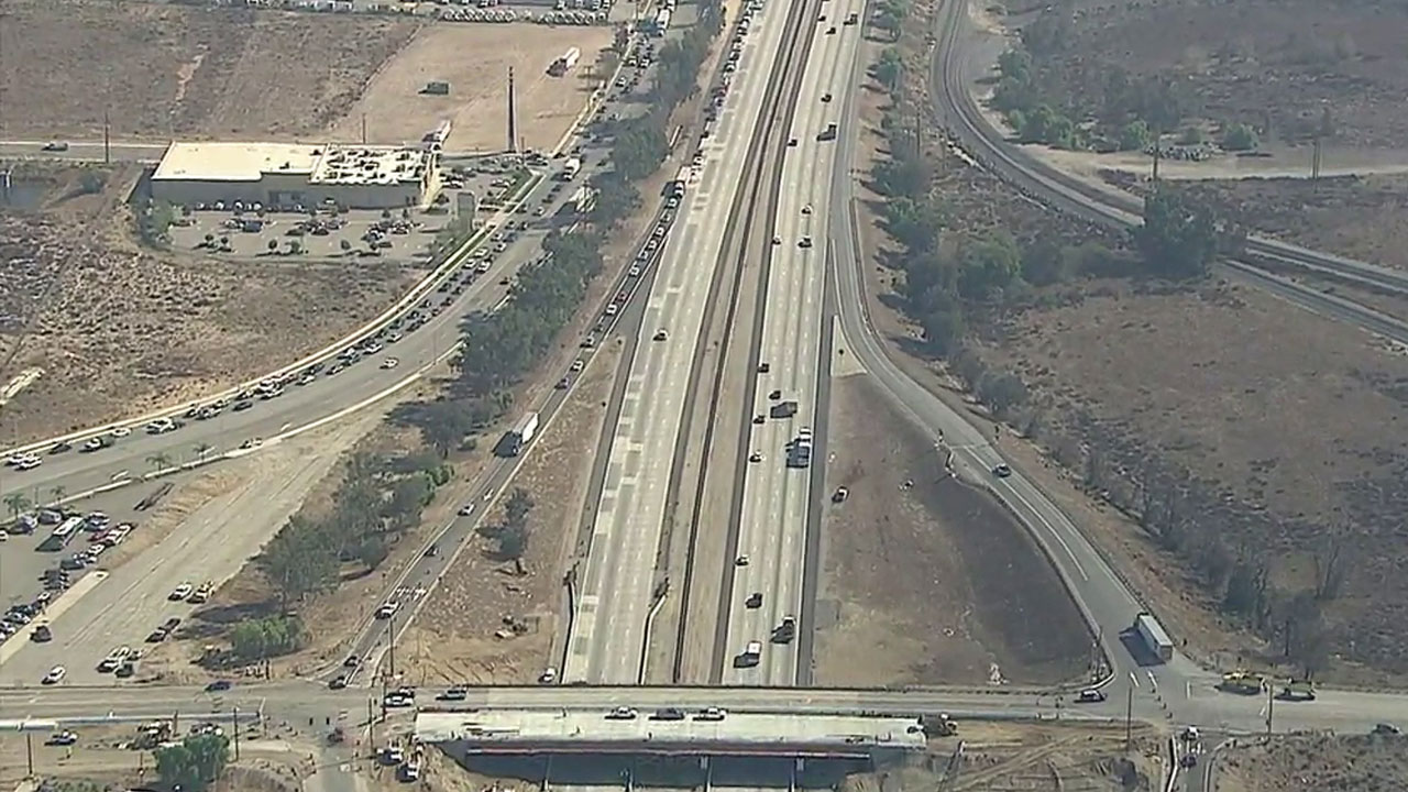 All westbound traffic was being diverted off the 10 Freeway in Colton after a report of wood falling from an overpass on Wednesday, Oct. 26, 2016.