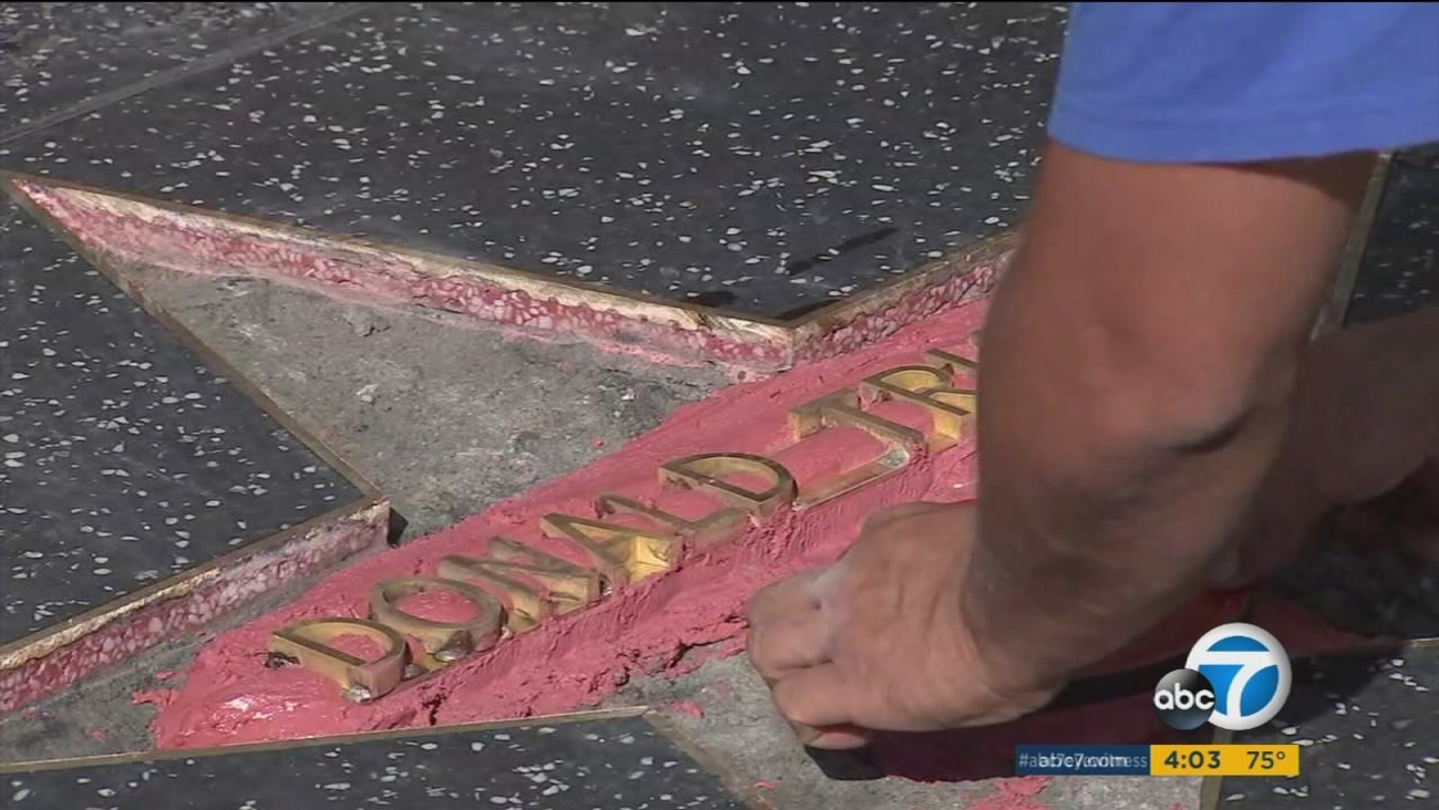 Repairs are already underway after Donald Trump's star on the Hollywood Walk of Fame was smashed by a vandal in construction-worker clothing.