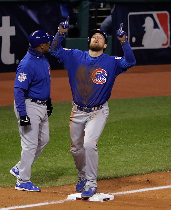 "<div class=""meta image-caption""><div class=""origin-logo origin-image none""><span>none</span></div><span class=""caption-text"">Chicago Cubs' Ben Zobrist reacts after his RBI triple during the fifth inning of Game 2. (AP Photo/Gene J. Puskar)</span></div>"