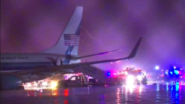 <div class='meta'><div class='origin-logo' data-origin='WABC'></div><span class='caption-text' data-credit=''>Republican Vice Presidential Candidate Mike Pence's plane overshot the runway at LaGuardia Airport in New York City on Thursday night.</span></div>