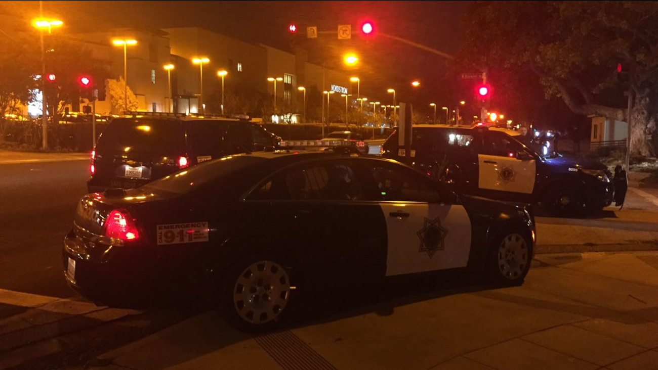 This image shows San Jose police outside the Valley Fair Mall in San Jose, Calif. after a double stabbing at the mall on Oct. 28, 2018.
