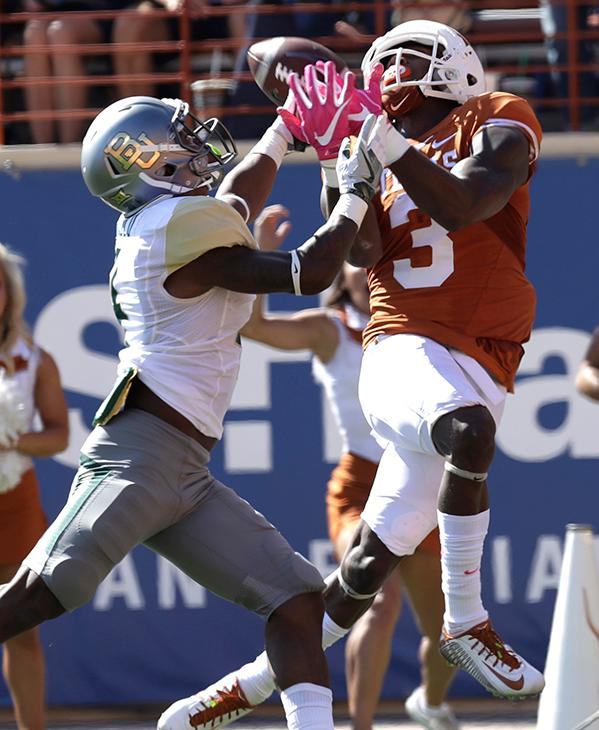 "<div class=""meta image-caption""><div class=""origin-logo origin-image ap""><span>AP</span></div><span class=""caption-text"">Texas wide receiver Armanti Foreman (3) makes a 40-yard catch over Baylor cornerback Grayland Arnold (4) during the first half on a NCAA college football game. (AP Photo/Eric Gay)</span></div>"