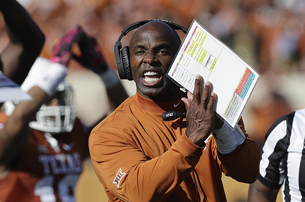 "<div class=""meta image-caption""><div class=""origin-logo origin-image ap""><span>AP</span></div><span class=""caption-text"">Texas head coach Charlie Strong signals to officials during the first half on a NCAA college football game against Baylor. (AP Photo/Eric Gay)</span></div>"