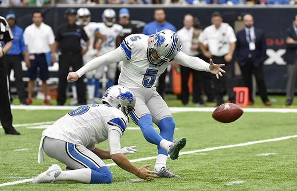 "<div class=""meta image-caption""><div class=""origin-logo origin-image ap""><span>AP</span></div><span class=""caption-text"">Detroit Lions kicker Matt Prater (5) kicks a field goal against the Houston Texans during the second half of an NFL football game. (AP Photo/Eric Christian Smith)</span></div>"