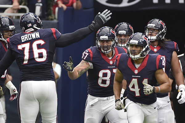 "<div class=""meta image-caption""><div class=""origin-logo origin-image ap""><span>AP</span></div><span class=""caption-text"">Houston Texans tight end C.J. Fiedorowicz (87) celebrates his touchdown catch with teamates  during the first half of an NFL football game against the Detroit Lions. (AP Photo/Eric Christian Smith)</span></div>"